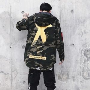 Camouflage Jackets  Casual Hoodies X Print Outwear